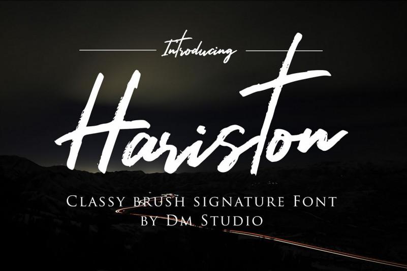 hariston笔触手写笔刷连笔英文字体下载