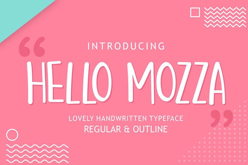 hello mozza可爱手写卡通英文字体下载