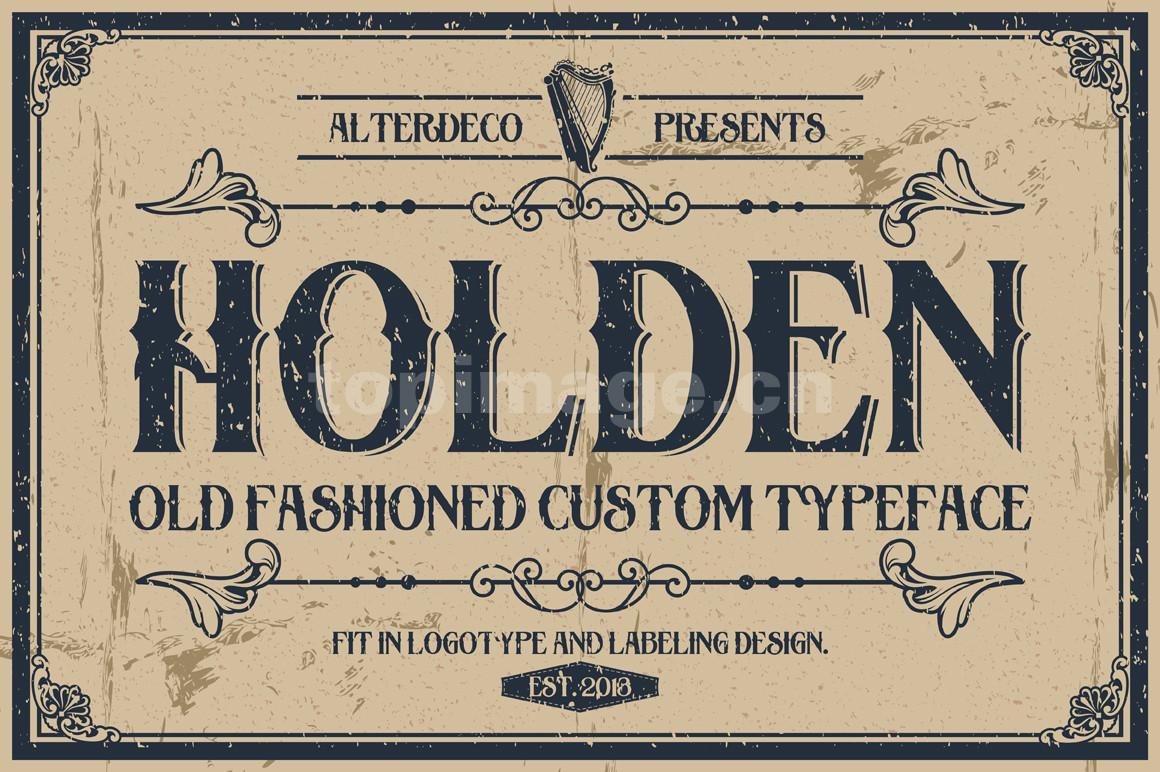 Holden简约复古衬线手绘艺术英文字体下载