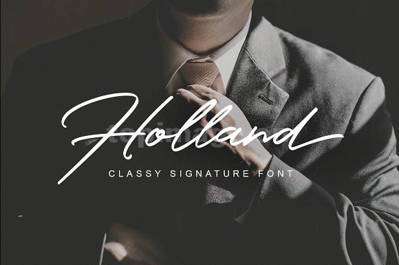 Holland_Font手写书法飘逸连笔英文手绘艺术字体下载