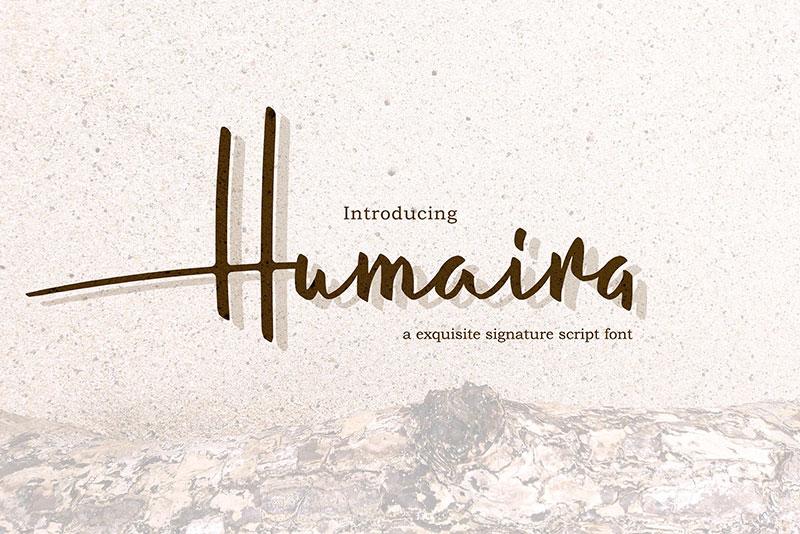 humaira时尚手写名片logo英文字体下载