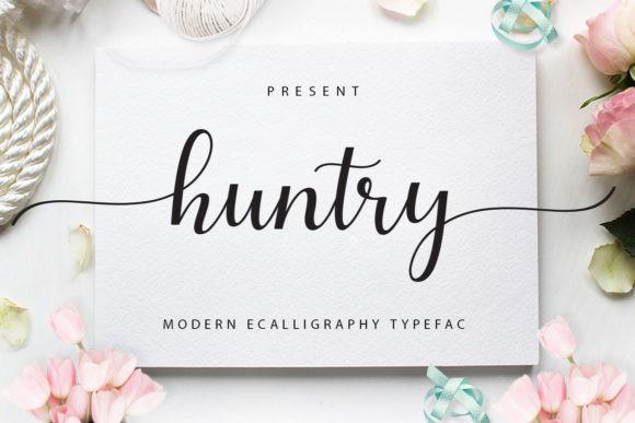 huntry婚礼花体连笔英文艺术字体logo下载