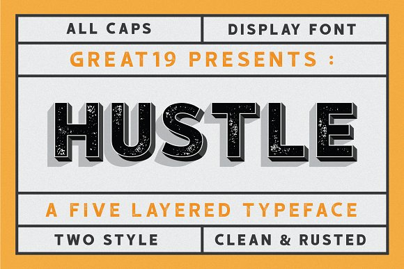 hustle现代大气创意logo字体下载