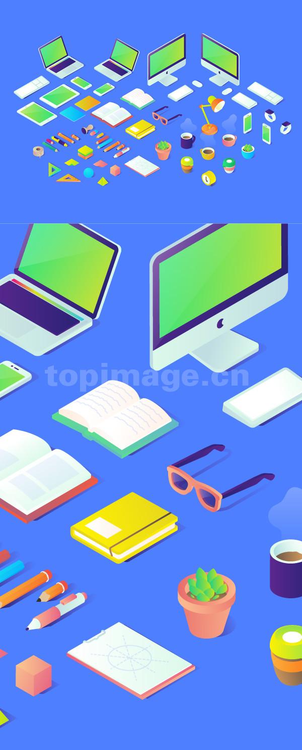 电脑 台灯 绿植 插画 学习 办公用品 水杯插画icon图标矢量文件下载