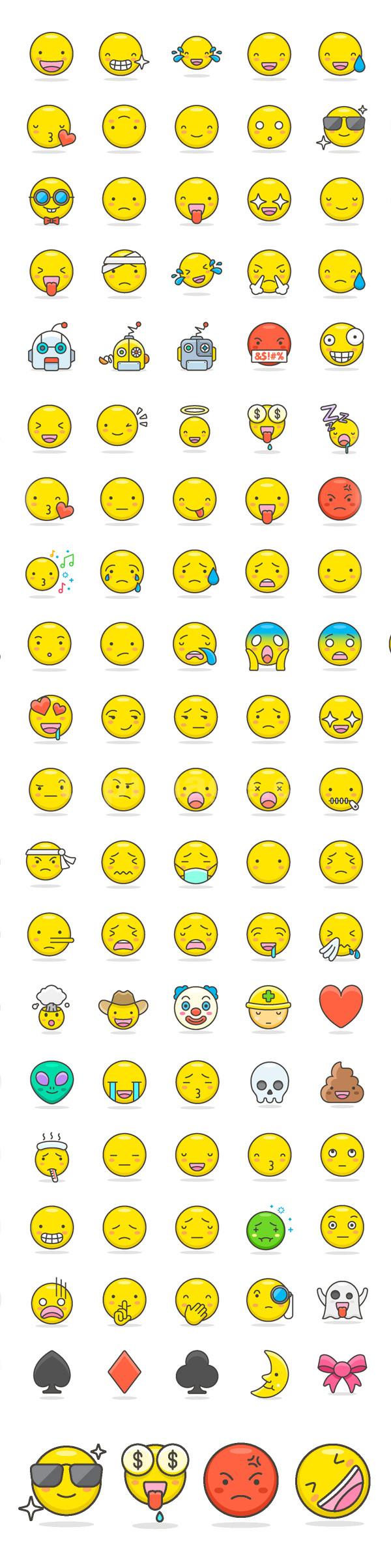 emoji可爱表情整套ai矢量文件下载