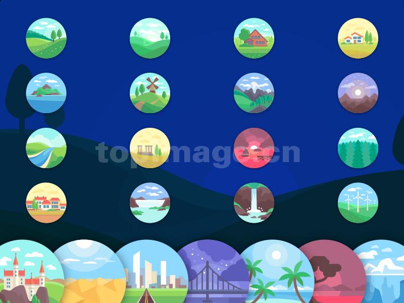场景图标插画 海洋 沙滩 城堡 海边 乡村 风力发电 海边flat图标icon矢量sketch下载