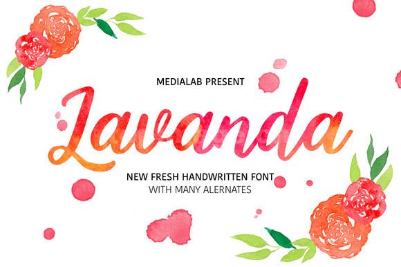 lavanda手绘水彩书法手写时尚英文连笔字体下载