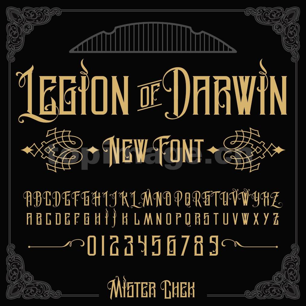 legion_of_darwin哥特式异形飘逸感个性手写海报英文字体下载
