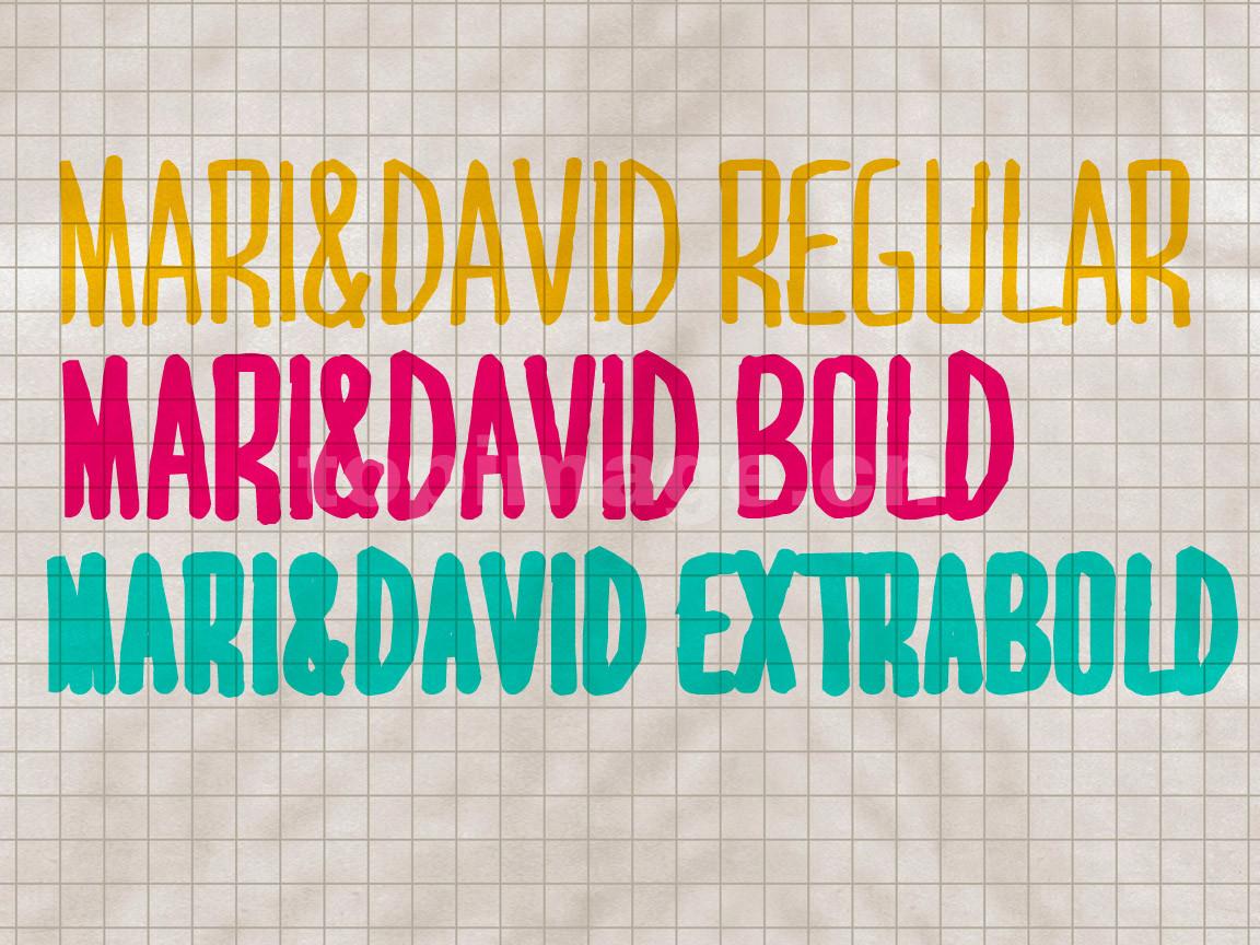 MARI&DAVID中性笔海报风格涂鸦个性艺术英文字体
