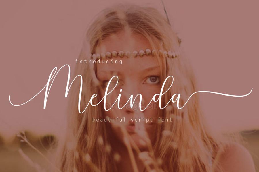 melinda婚纱摄影海报花式英文字体下载