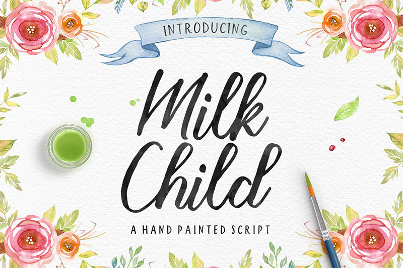 milk child唯美摄影装饰画海报手写英文字体下载