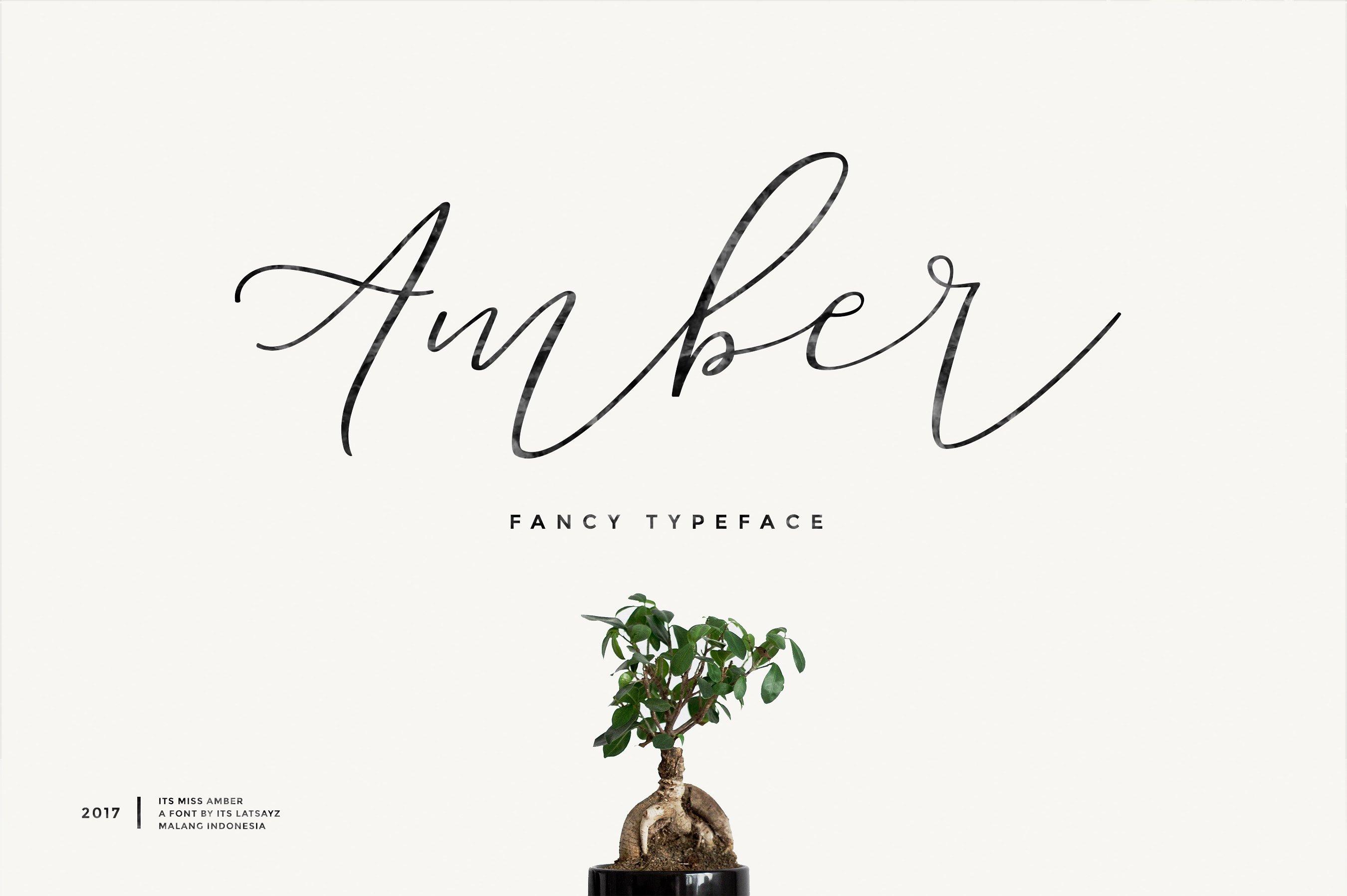 Miss Amber 手写连笔飘逸婚礼logo设计英文字体下载