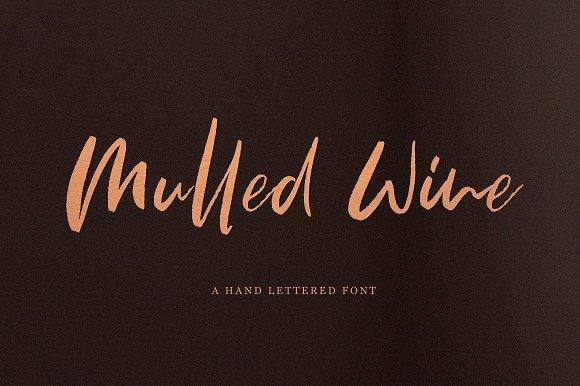 MulledWine创意logo卡片海报手写英文字体下载