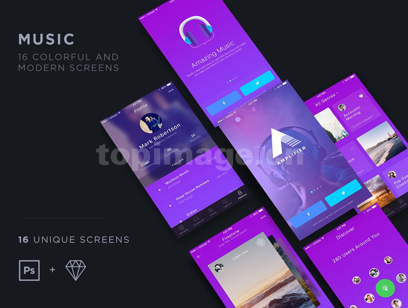 music音乐app播放器ui kit模板源文件下载