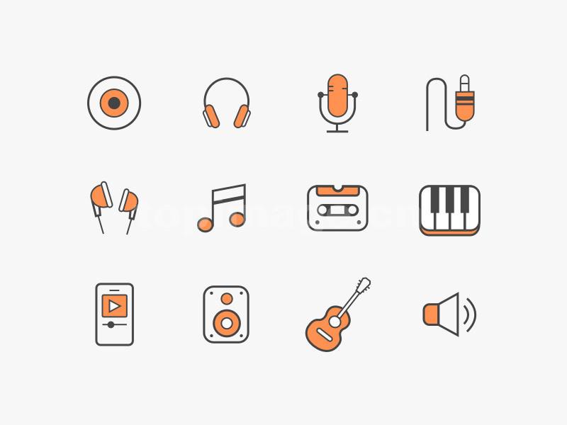 music线性耳机 磁带 麦克风 吉他 播放器icon图标psd源文件下载