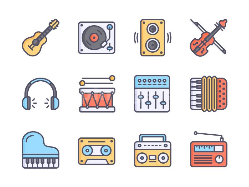music 乐器 吉他 小提琴 磁带 收音机 架子鼓 手风琴mbe扁平化源文件下载