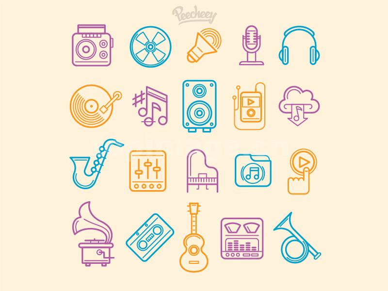 乐器 老唱片 留声机 吉他 电子琴 播放器 麦克风 小号图标线性icon下载