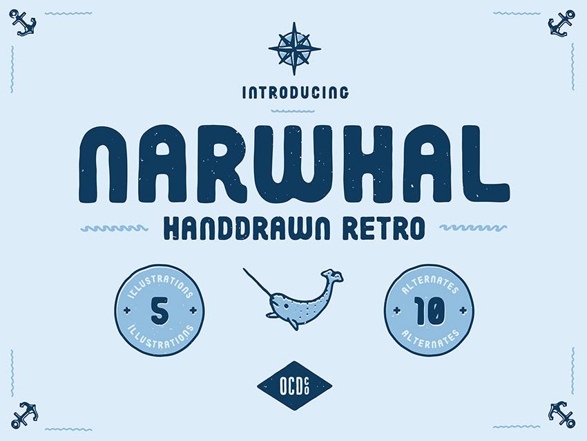 narwhal手写卡通包装英文字体下载