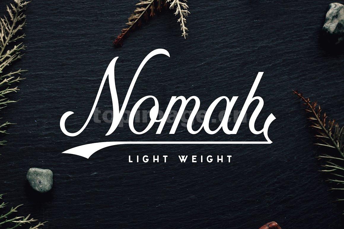 nomah手写手绘连笔飘逸时尚海报英文艺术字体下载