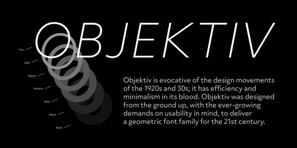 Objektiv mk123 现代logo简洁无衬线字体家族全套英文下载