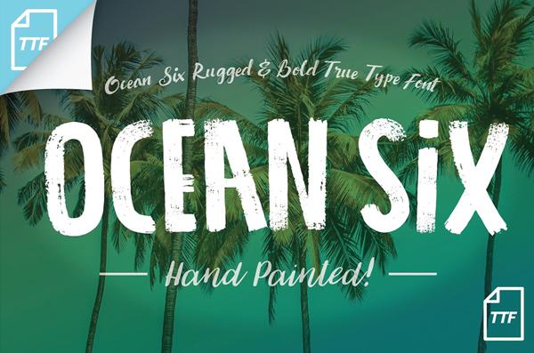 ocean大自然摄影海报手写笔刷英文字体下载