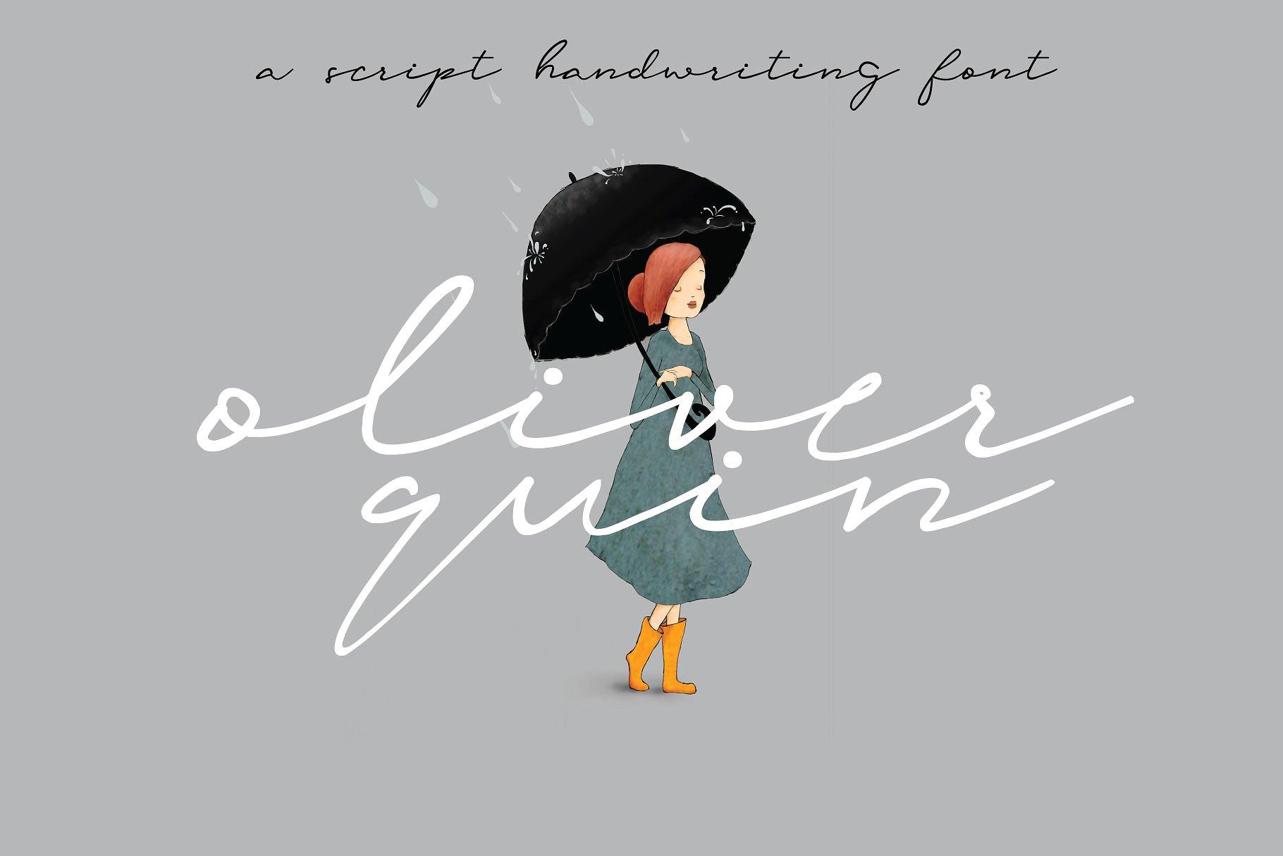 oliverquin创意手绘漫画个性签名海报英文字体下载