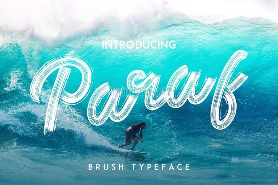 paraf帅气笔刷纹理个性海报英文字体