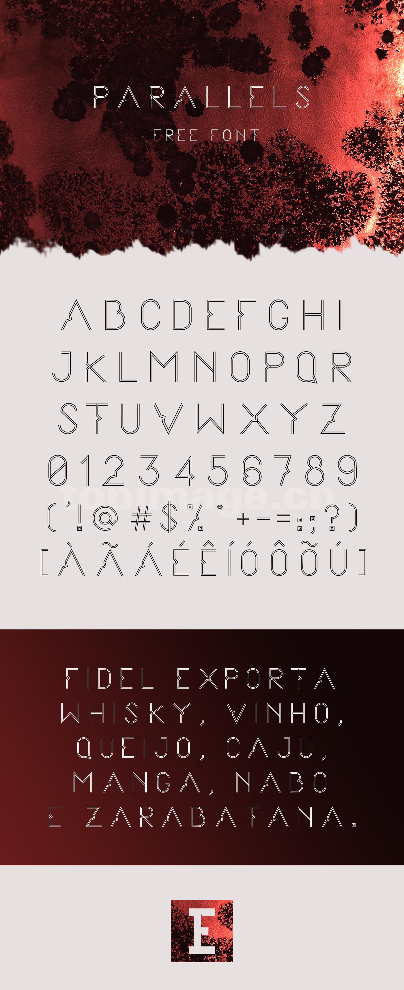 Parallels复古线性个性化纤细海报英文字体下载