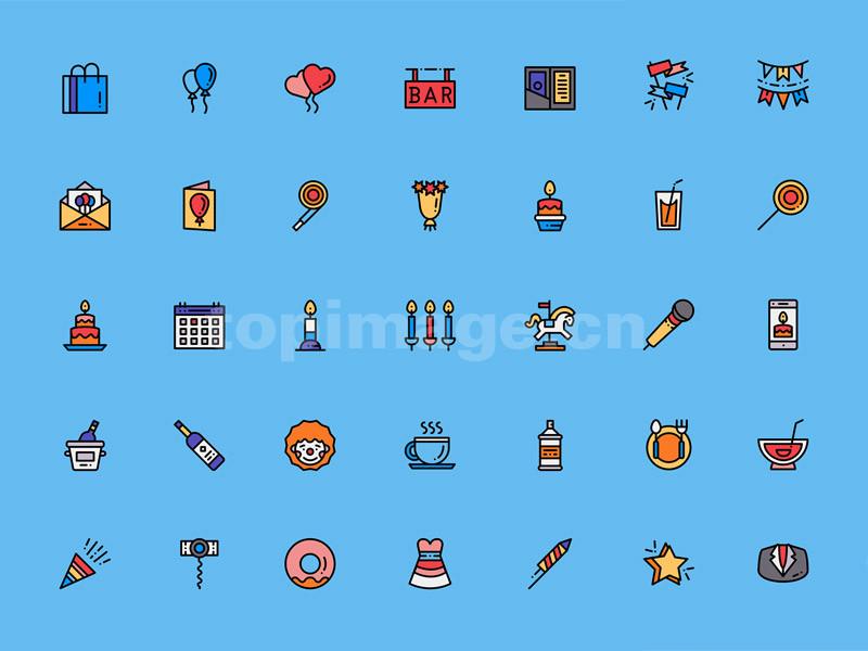 聚会 生日 party 元素 气球 蛋糕 餐盘 蜡烛sketch图标模板源文件下载