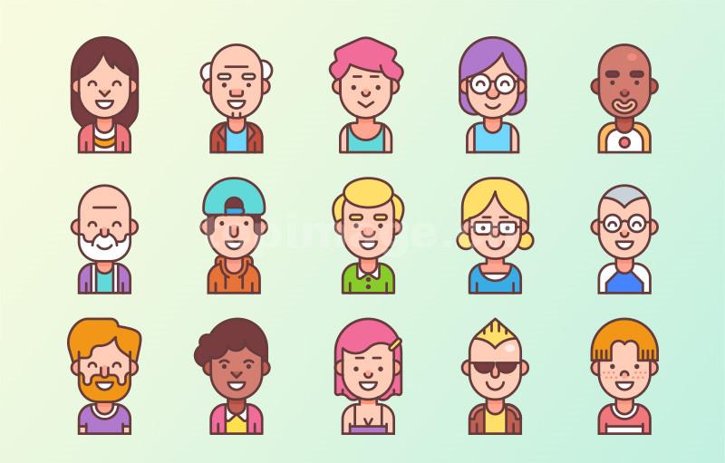 mbe风格icon用户卡通头像矢量文件下载