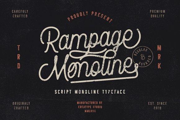 rampage monoline 手写连笔签名英文字体下载