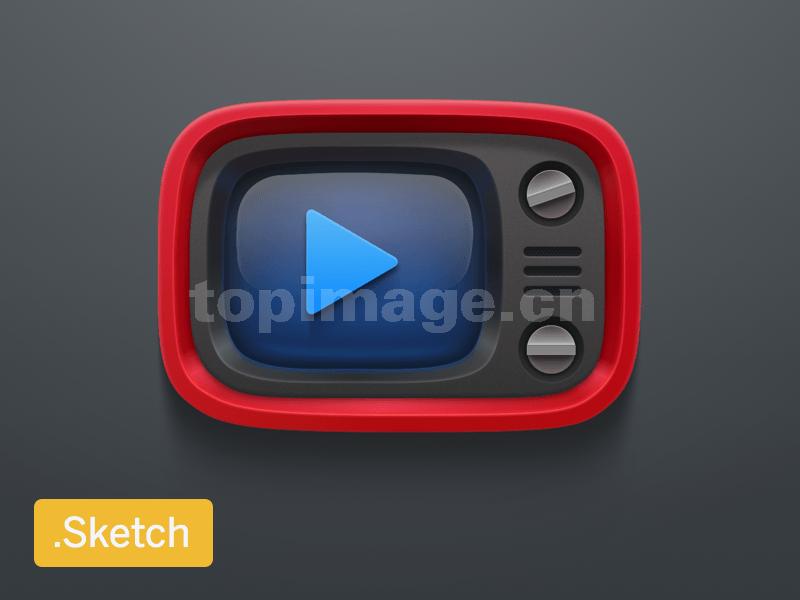 红色复古电视机 扁平化 矢量 icon下载