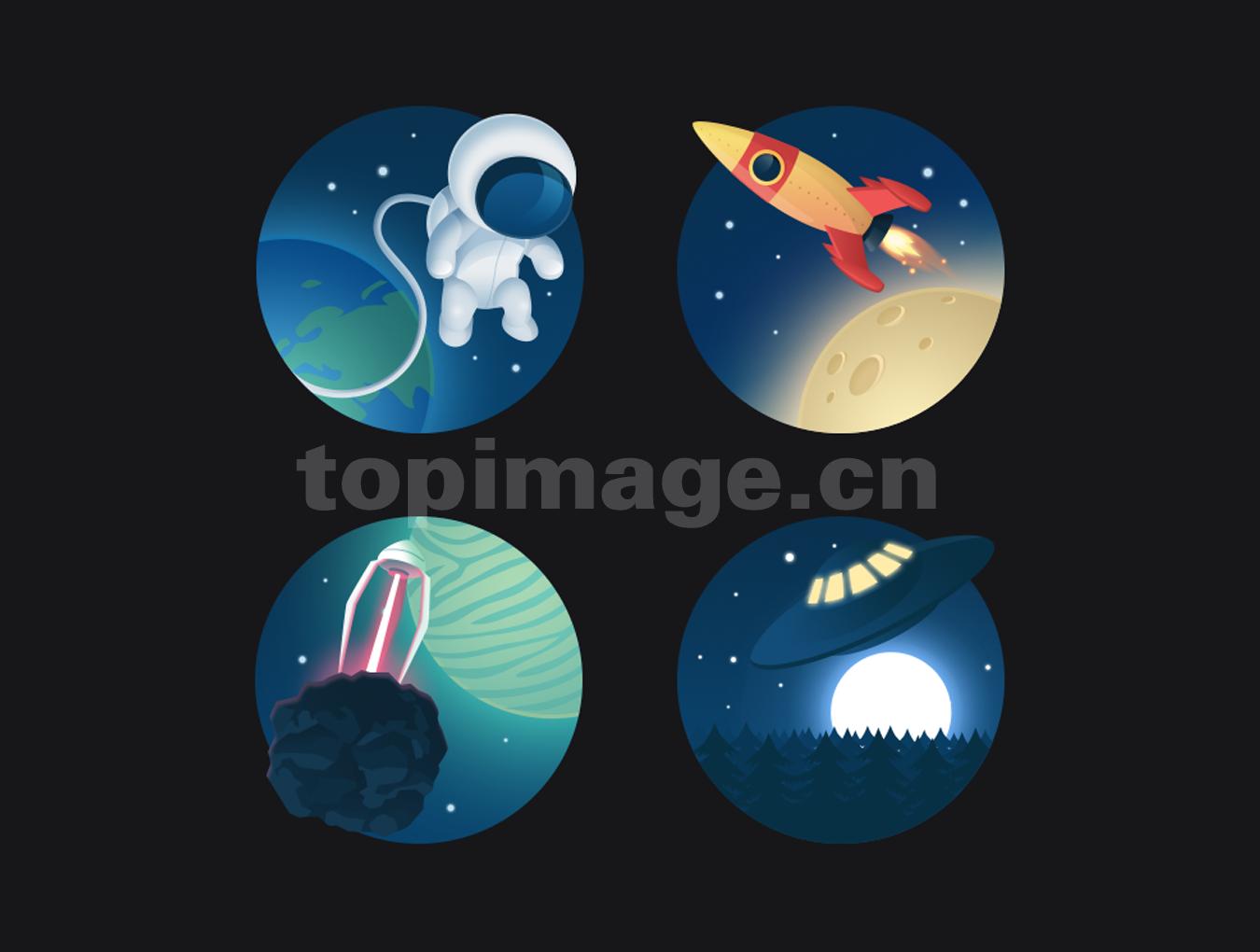 太空宇航员外星人梦幻星空火箭icon 图标下载