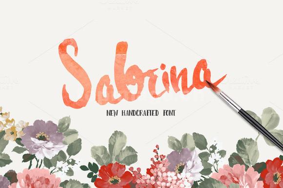 sabrina水彩英文手写书法英文手绘艺术字体下载
