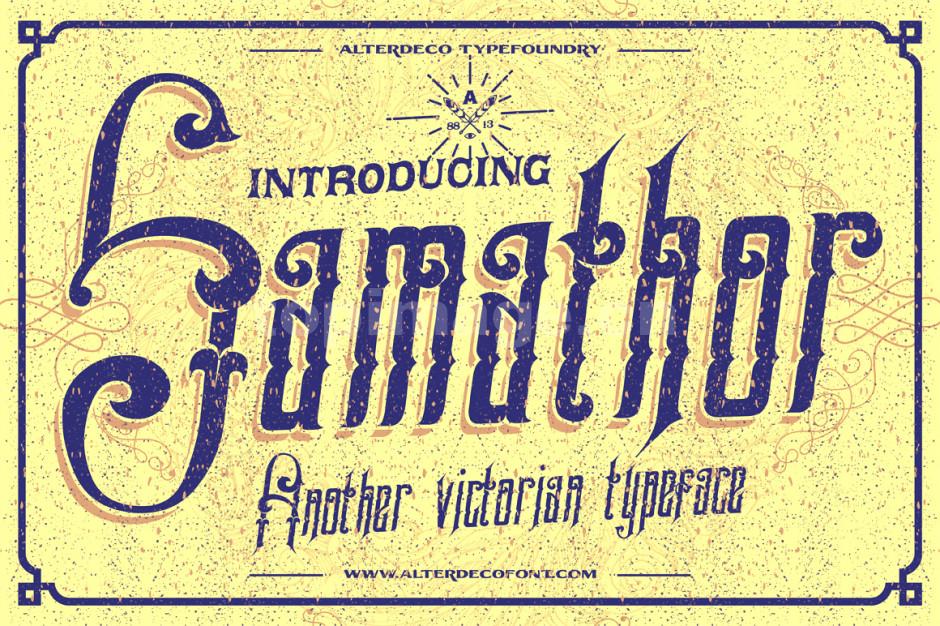Samathor飘逸个性化斑驳质感艺术英文字体下载