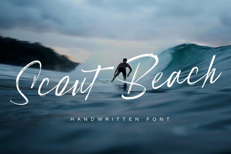 Scout Beach运动手写连笔大气书法毛笔英文字体下载