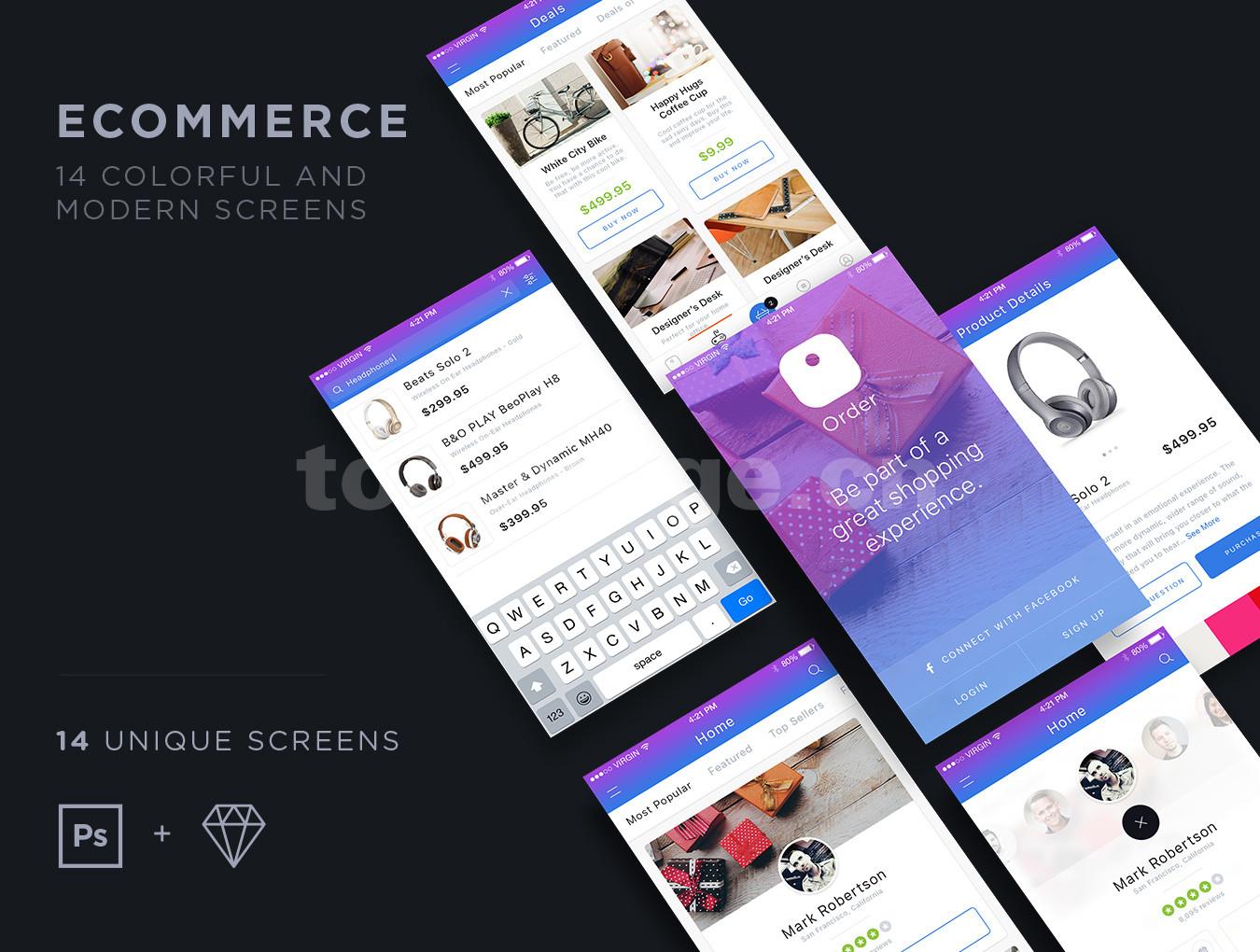 电子商务商城app模板耳机电子数码产品ui kit 源文件下载
