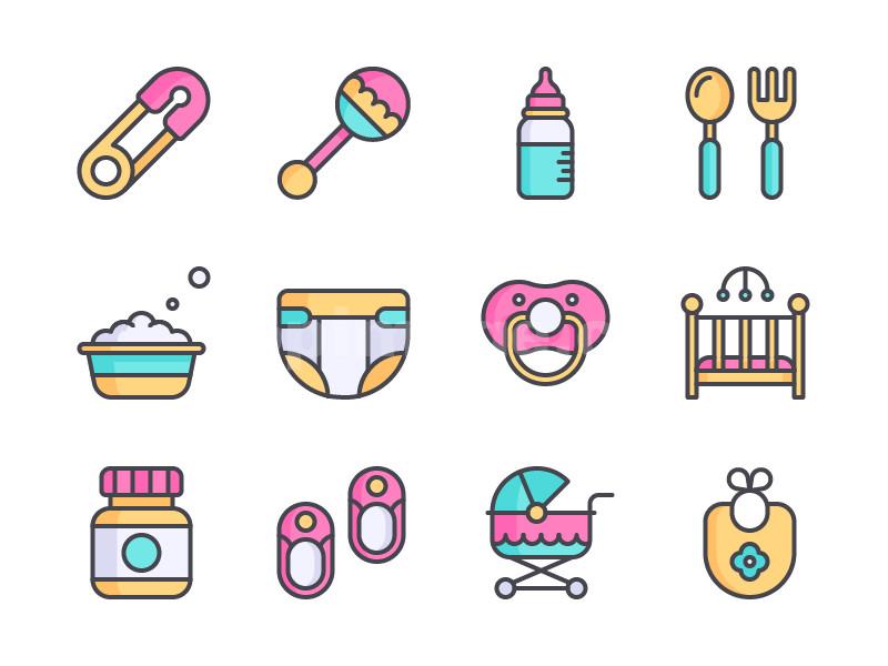 婴儿相关 icon 药瓶 鞋子 婴儿床 奶瓶 棒棒糖mbe icon图标下载