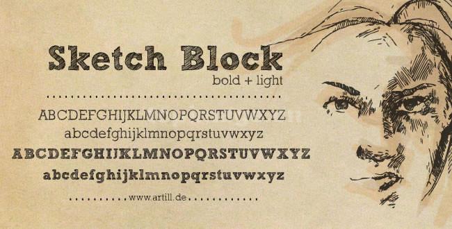 sketch-block手写条纹线条英文艺术字体下载