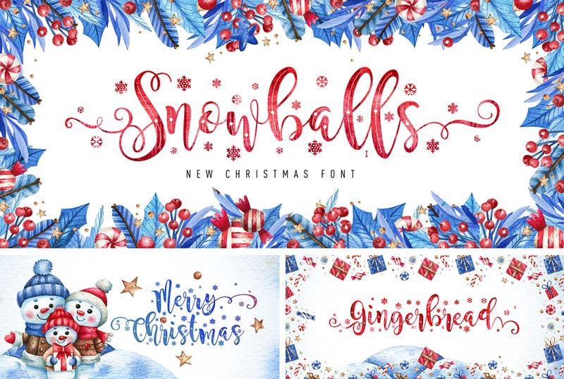 Snowballs圣诞节唯美手写节日连笔免费英文字体下载