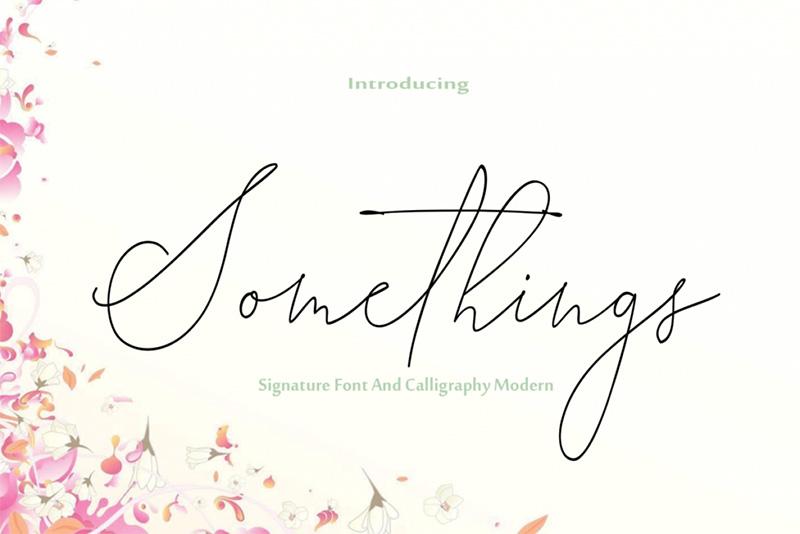 somethings艺术签名婚纱海报纤细英文字体下载