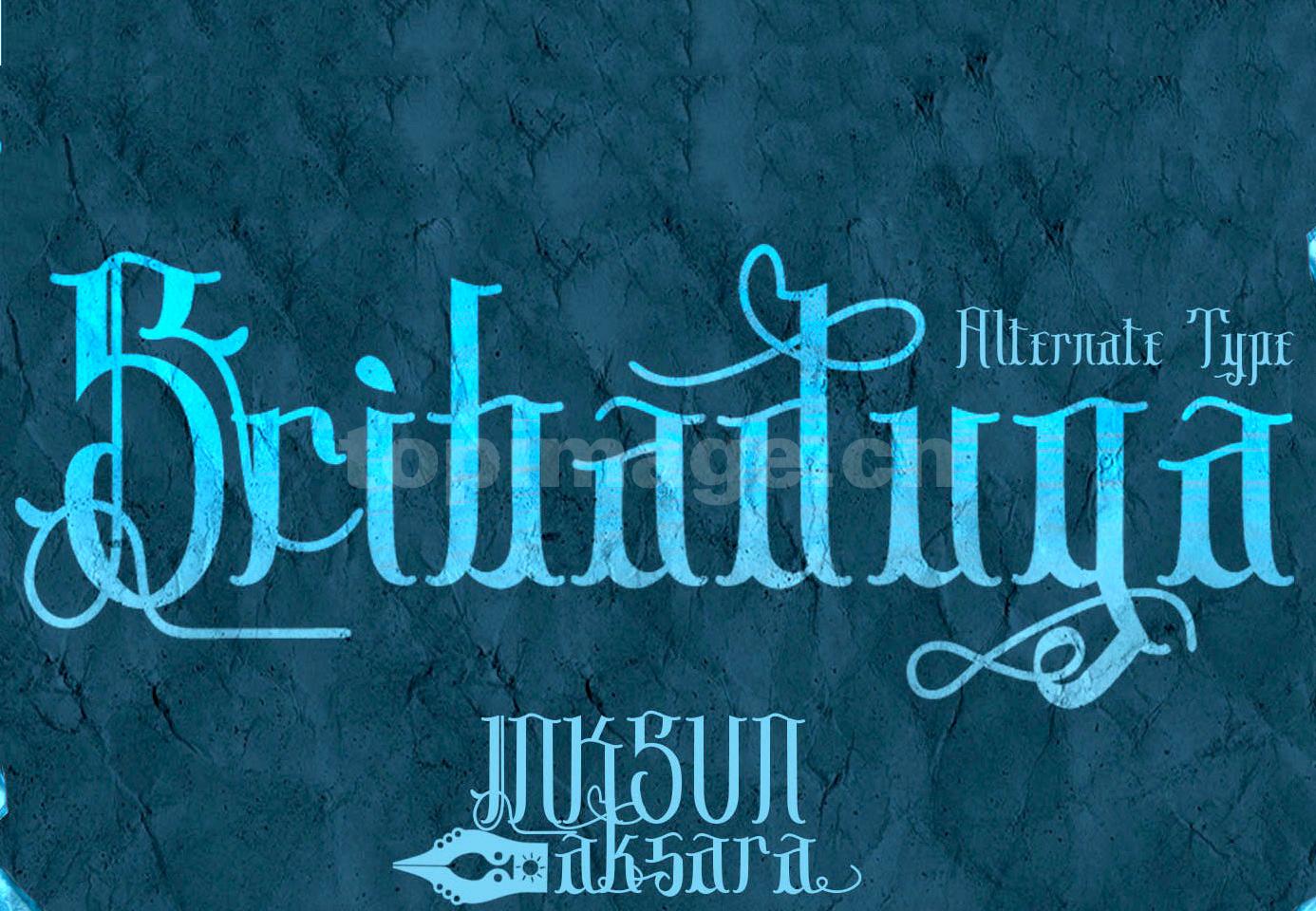 Sribaduga复古哥特连笔飘逸个性斑驳质感艺术英文字体下载