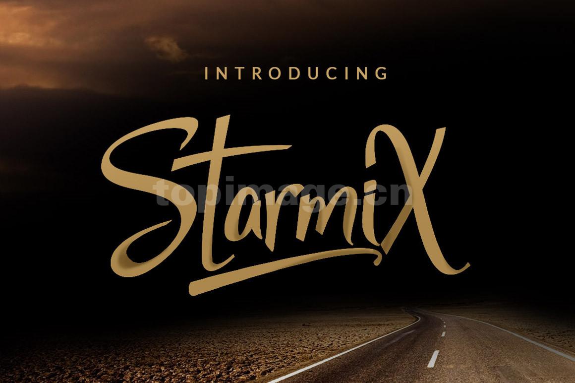 starmix飘逸书法大气个性连笔英文字体下载