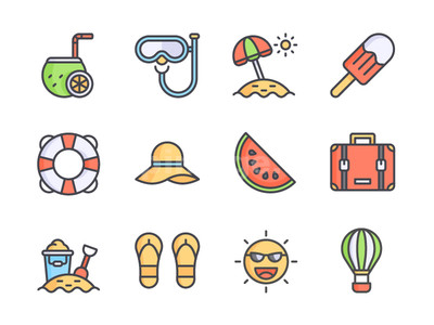 夏天相关 海滩元素 帽子 太阳 椰子汁 旅行箱 拖鞋icon源文件下载