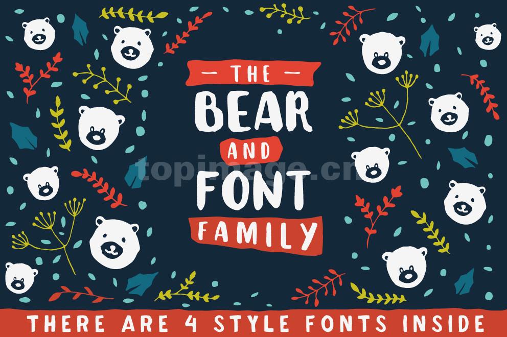 The Bear可爱卡通手绘书法英文手写字体下载Teddy_Polar_Gummy_Grizzly
