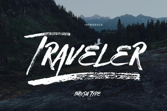 Traveler霸气个性笔刷肌理英文字体下载