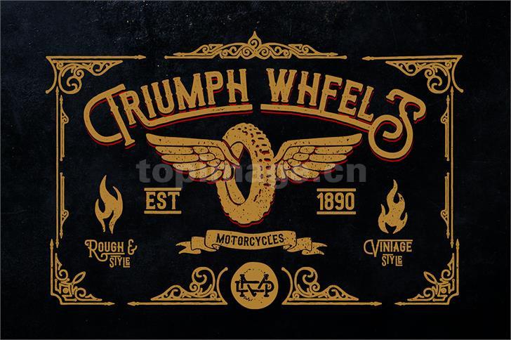 Triumph wheels rough复古个性斑驳质感艺术英文字体下载