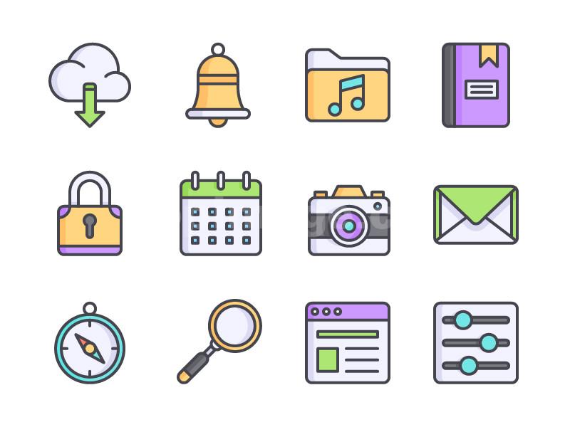 用户界面 铃铛 指南针 计算器 邮件 搜索 锁 icon源文件图标下载