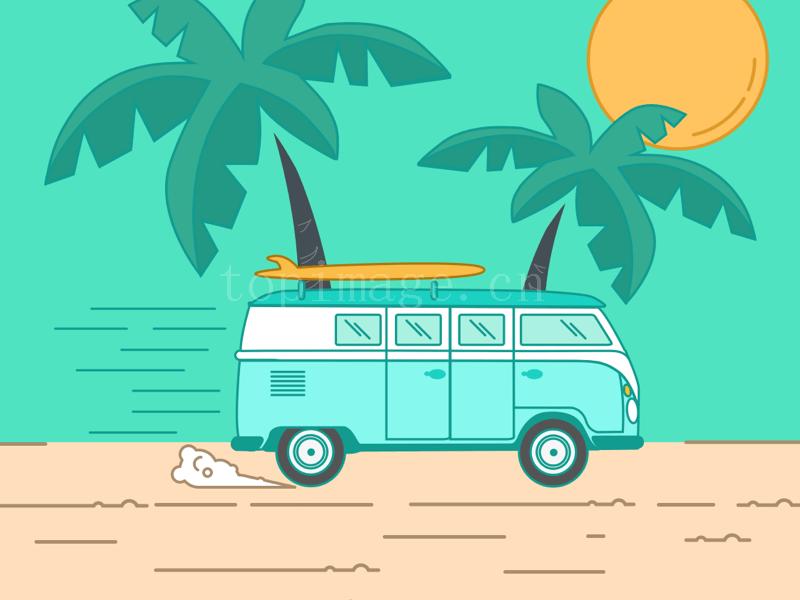 夏日旅行海滩度假图标icon源文件下载