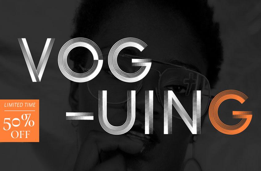voguing现代线条简洁logo英文字体下载
